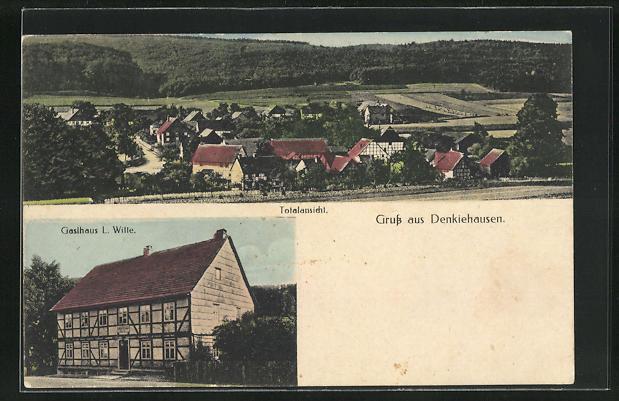 AK Denkiehausen, Gasthaus L. Witte, Ortsansicht 0