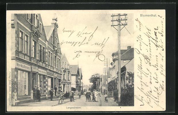 AK Blumenthal, Langestrasse mit Geschäften 0