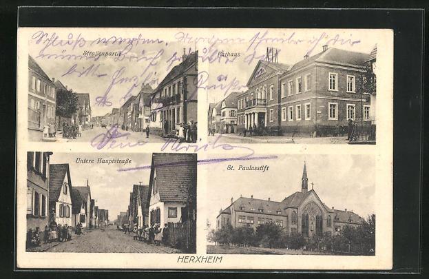 AK Herxheim, Rathaus, Untere Hauptstrasse, St. Paulusstift 0