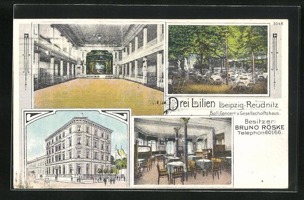 AK Leipzig-Reudnitz, Gasthaus Drei Lilien von Bruno Röske 0