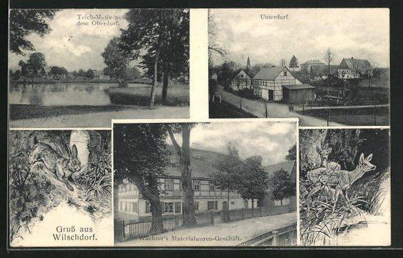 AK Wilschdorf, Wächters Materialwaren-Geschäft, Teich-Motiv aus dem Oberdorf 0