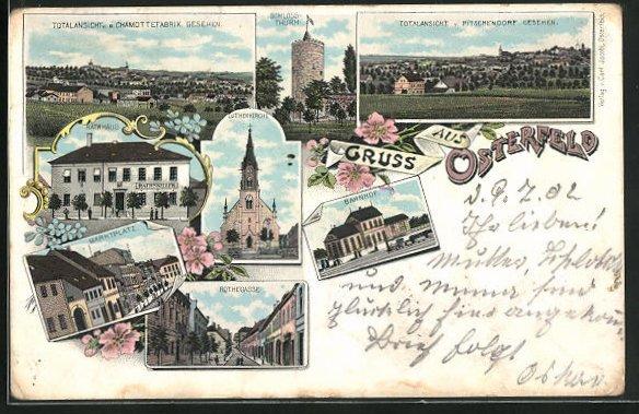 Lithographie Osterfeld, Rathaus mit Gasthof Rathskeller, Rothegasse, Bahnhof 0