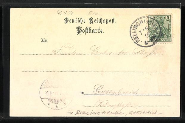 Lithographie Rellinghausen, Gasthaus zur schwarzen Lene, Villa Hügel 1