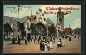 AK Hamburg, 16. Deutsches Bundesschiessen, Haupteingang der Festhalle