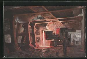 AK Der Werdegang der Eisenbahnschiene, Stahlwerk mit Fabrikarbeitern