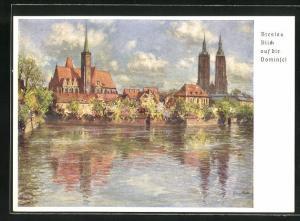 Künstler-AK Ganzsache, Breslau, 12. Deutsches Sängerbundfest 1937, Blick auf die Dominsel