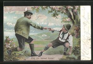 AK zwei Jäger in bayerischer Tracht beim Fingerhakeln