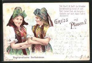 Lithographie Plauen i. V., zwei Vogtländische Dorfschönen in Tracht