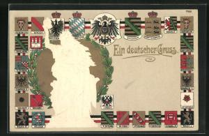 Präge-AK Denkmal einer Göttin, Wappen der deutschen Bundesländer, von Schwarzburg, von Waldeck-Pyrmont