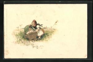 Lithographie kleine Hessin in Tracht und Säugling in Wiege