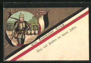 Künstler-AK Bruno Bürger & Ottillie Nr. 8224: Ein deutscher Gruss, Feldgrauer