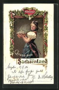 AK Mädchen in sächsischer Tracht mit einer Schüssel Klössen