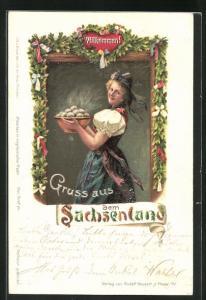 AK Junge Frau in sächsischer Tracht mit einer Schüssel Klössen