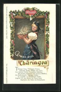 AK Blondes Mädchen in sächsischer Tracht mit einer Schüssel Klössen