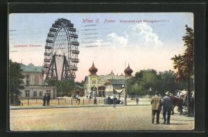 AK Wiener Prater, Riesenrad und Eisvogel, Lustpiel-Theater