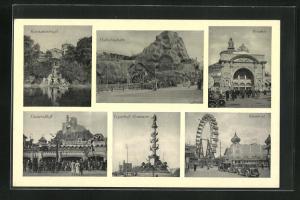 AK Wiener Prater, Hochschaubahn, Riesenrad, Geisterschloss, Tegetthoff-Monument, Rotunde