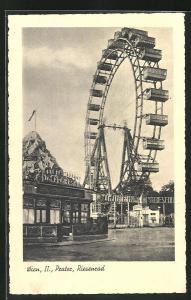 AK Wien II, Wiener Prater, Riesenrad, Hochschaubahn