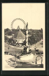 AK Wien, Wiener Prater, Praterstern mit Kino, Blick zum Riesenrad