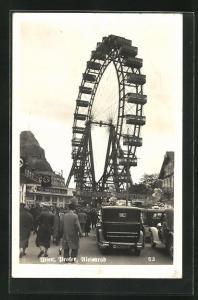 Foto-AK Wien, Wiener Prater, Blick zum Riesenrad,