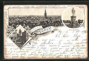 Lithographie Düren, Denkmäler Kaiser Wilhelm I. und Fürst Bismarck, Blick auf die Stadt