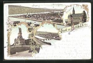 Lithographie Bingen, Ortsansicht mit Rhein aus der Vogelschau, Nationaldenkmal a. d. Niederwald, Drususbrücke