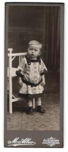 Fotografie M. Alber, Augsburg, Portrait niedliches blondes Kleinkind im hübsch besticktem Kleid