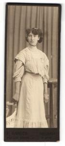 Fotografie F. Hangen, Neustadt / Saale, Portrait dunkelhaariges Fräulein mit Haarbrosche