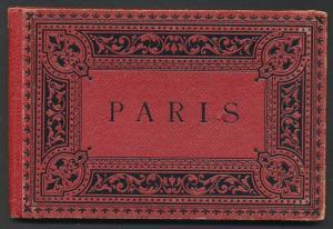 Leporello-Album Paris, mit 18 Lithographie-Ansichten, Arc de Triomphe, Notre Dame, Palais de Justice, Hotel de Ville
