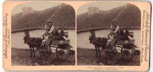 Stereo-Fotografie Strohmeyer & Wyman, New York, Holiday in a Jaunting Car, Ireland, Iren mit Karren