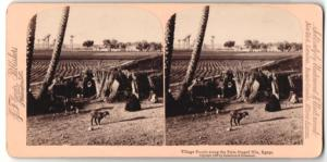Stereo-Fotografie Jarvis, Washington D.C., Nile / Egypt. Village People along the Palm fringed Nile