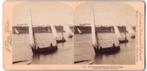 Stereo-Fotografie Jarvis, Washington D.C., Fleet of Arab Boats upon the Nile / Egypt