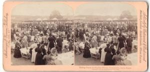 Stereo-Fotografie Strohmeyer & Wyman, New York, Taking Tea at English Military Tournement, Cairo / Egypt