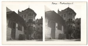 Stereo-Fotografie Fotograf unbekannt, Ansicht Bozen, Gasthaus Batzenhäusl