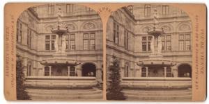Stereo-Fotografie M. Frankenstein & Co., Wien, Ansicht Wien, Brunnen vor der Oper