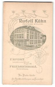 Fotografie Rudolf Kühn, Erfurt & Friedrichroda, rücks. Ansicht Erfurt, Atelier Langebrücke 52 und Anger 58