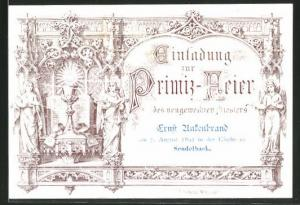 Einladung Primiz-Feier, Sendelbach 1892, Priester Ernst Ansenbrand, Heiliger Gral und Engel