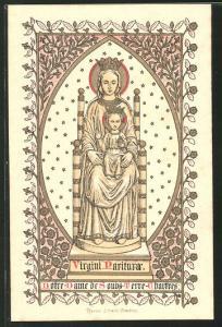 Heiligenbild Maria mit Jesuskind, Ornamente & Bibelvers