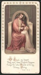 Heiligenbild Jesus erteilt Kind die Kommunion, Bibelvers