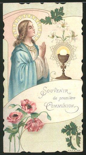 Heiligenbild Heilige im Gebet, Heiliger Gral und Blumen 0