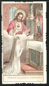 Heiligenbild Jesus, Mädchen im Gebet während der Kommunion