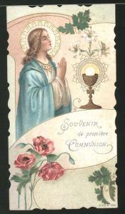 Heiligenbild Heilige im Gebet nebst Heiliger Gral