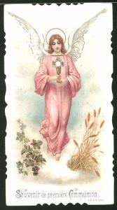 Heiligenbild Engel hält Heiligen Gral