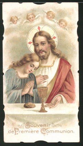 Heiligenbild Jesus und betendes Mädchen 0