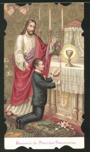 Heiligenbild Jesus, Knabe kniend während der Kommunion