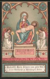 Heiligenbild Maria betrauert Jesus, Engel , Bibelvers