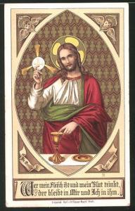 Heiligenbild Jesus mit Oblate und Heiliger Gral, Bibelvers