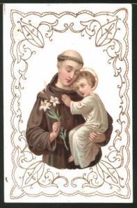 Heiligenbild Mönch mit Jesuskind im Arm