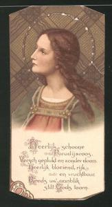 Heiligenbild Portrait Heilige und Bibelvers