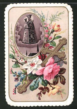Heiligenbild Maria in Altötting, St. Maria und Blumenverzierung 0