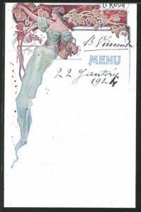 Menükarte 1921, Dame mit Korb voller Weintrauben, verschiedene Speisen